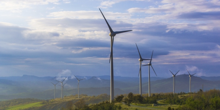 Wind Turbines at Sunset in Tuscan Countryside