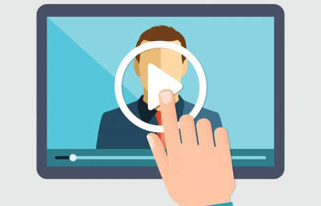 Vector flat illustration of webinar, online conference, lectures and training in internet