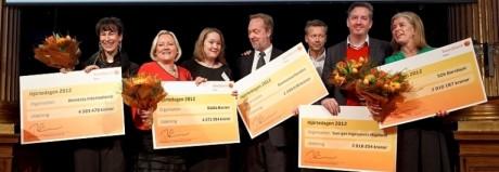 Patrik Nilsson på Sveriges Ingenjörer (tvåa från höger på bilden) tog emot en check på 2 018 204 kronor från Swedbank Robur.