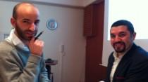 Julio Bascur (tilkl höger) hade ett trevligt samtal med sin adept Nexhmedin Halimi.