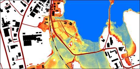 Med hjälp av laserscanning har man tagit fram detaljerade kartor som visar hur vattnet från Mälaren skulle sprida sig vid en översvämning. Färgerna markerar tiocentimetersintervall från dagens höjd upp till 2,2 meter högre vattenstånd, den fysiska gräns som finns för en översvämning av Mälaren. Samma teknik som använts här, används också för en detaljerad höjdmätning av hela landet som ska vara klar inom några år. Foto: MSB.
