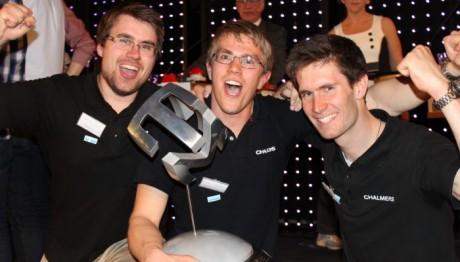 Vinnarna i Teknik-SM 2012: Henrik Fridén, Hans Lämås och Johan Nohlert från Chalmers. Foto: Jonna Lahdensou.