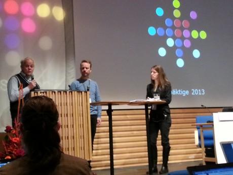 Foto: Jenny Grensman. Markus Suurküla, FMV, och Sverker Hansson, SVECO, talar vision under Josefin Utas ledning.