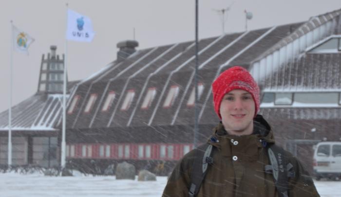 Teknologen Patrik Kärräng pluggar på Svalbard under hela vårterminen. Foto: Privat