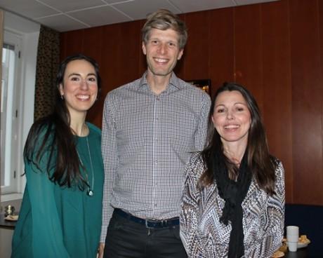 Trion som håller i det nya mentorprogrammet: Nathalie Ahlstrand och Frank Ekelund, Takeachange, till höger Natasha Kavalic, Sveriges Ingenjörer.