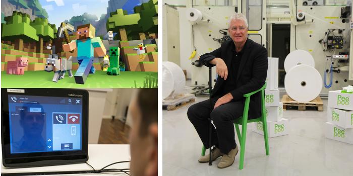 Minecraft, Tobii och Peepoo är nominerade till årets Polhemspris. Bilder: Minecraft och Pernilla Pettersson/pernilla-p.com