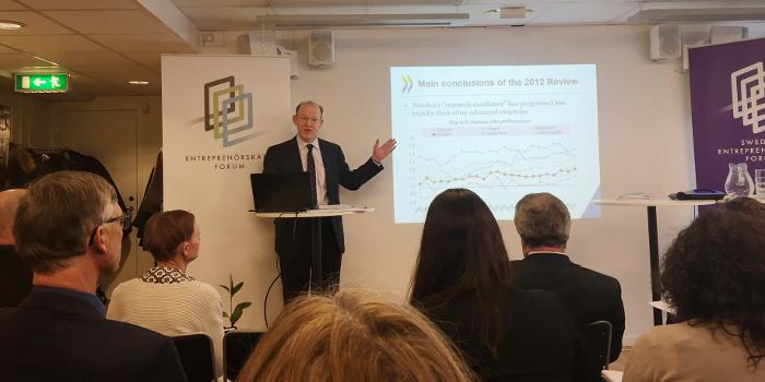 Andre W. Wyckhoff från OECD presenterade den nya rapporten med fokus på svensk forskning och innovation under ett seminarium hos Entreprenörskapsforum. Bild: Ingenjören