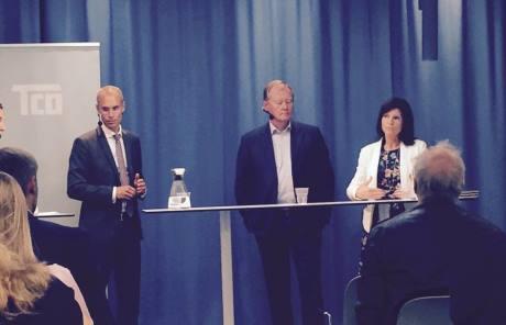 Oscar Stenström, statssekreterare hos EU- och handelsminister Ann Linde, Svenskt Näringslivs ordförande Leif Östling och Eva Nordmark, ordförande TCO
