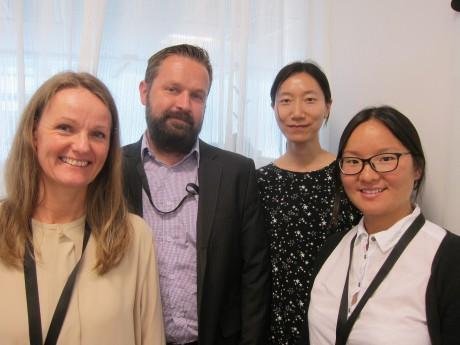 Maria Wiese, John Bergström, Jie Zhongs och Emma Wang i akademikerföreningen på Cevt har ett växande utlandsägt företag att ta hand om. Foto: Jenny Grensman