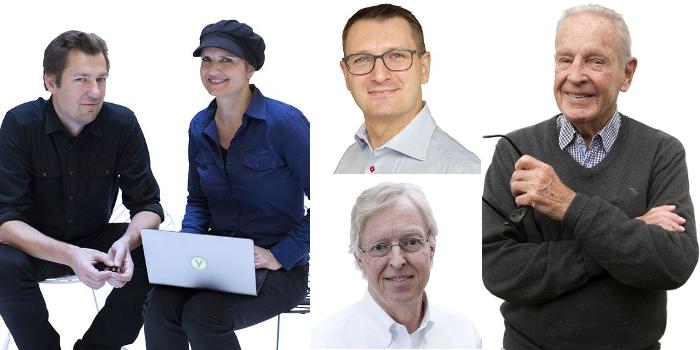 Jakob och Stina Ehrensvärd, Oscar Hemberg och Hans Hertz samt Lennart Lindblad är alla nominerade till årets Polhemspris. Foto: Pernilla Pettersson och Per Westergård.