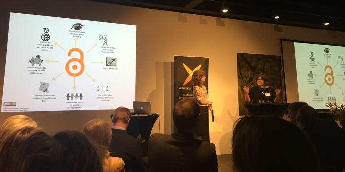 Beate Eellend, till höger, är handläggare för openaccess.se Kungliga biblioteket. Hon säger att öppen tillgång kan stärka hela vetenskapssamhället och möjliggöra för alla medborgargrupper att ta del av forskning. Foto: Ingenjören